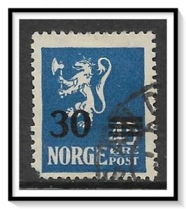 Norway #129 Lion Rampant Surcharged Used