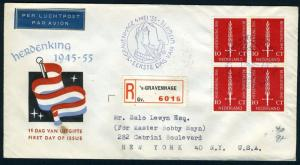 NETHERLANDS NVPH# E22 REGISTERED FDC 1955 TO NEW YORK 5/6/1955