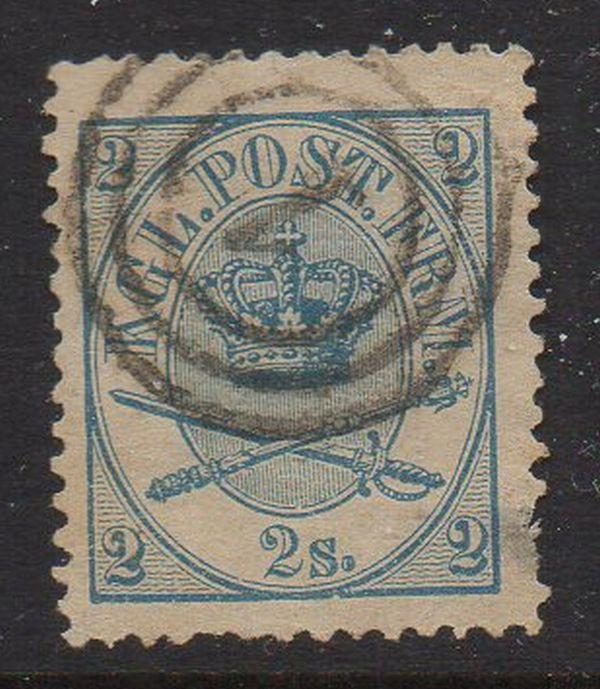 Denmark Sc 11 1865 2s blue Royal Emblems stamp used
