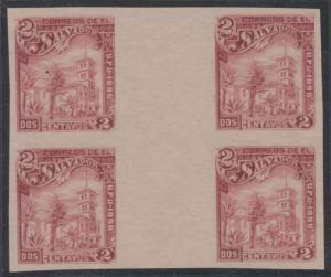 EL SALVADOR 1896 WHITE HOUSE Sc 157C GUTTER IMPERF BLOCK OF FOUR UNUSED VF