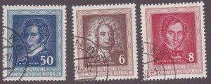 Germany DDR # 100-102, Handel, Lortzing, Weber, Used 1/3 Cat