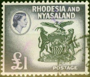 Rhodesia & Nyasaland 1959 £1 Black & Deep Violet SG31 Fine Used