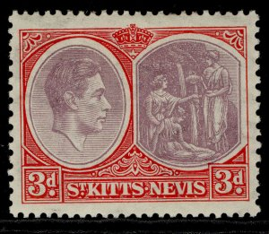 ST KITTS-NEVIS GV SG73a, 3d brown-purple & carmine-red, M MINT. Cat £42. CHALKY