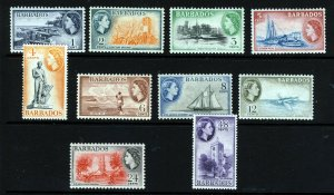 BARBADOS QE II 1953-61 Watermark Mult Script CA Part Set SG 289 to SG 298 MINT