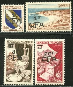 REUNION Sc#301-304 1954 Overprints on France Complete Set OG Mint LH & NH