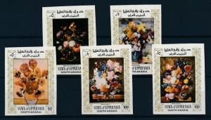 [95498] Aden State Upper Yafa 1967 Paintings Flora Van Gogh Renoir Imperf. MNH