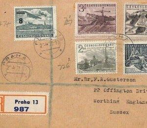 Czechoslovakia Cover 1949 AIR SURCHARGE 1953 Air Mail Cover {samwells}BU72