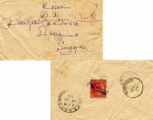 Burma India 1a KEVII 1907 Myanaung to Singapore.  Reverse franked.  Crease an...