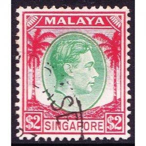 SINGAPORE 1948 KGVI $2 Green and Scarlet SG14 FU