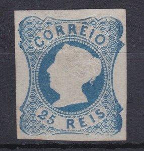 ROW230) Portugal 1853 25r blue SG4 four margins, MNG. An uneven print