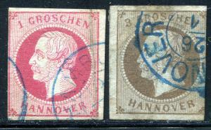 GR Lot 10598 German State HANOVER 1859 Michel 14-1GR & 16-3GR as shown