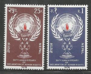 NEPAL  350-351  MINT HINGED, 30TH ANNIV. OF DECLARATION OF HUMAN RIGHTS