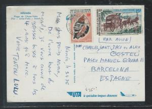NEW CALEDONIA  (P2209B) 10F SHELL+15F HORSES ON PPC TO SPAIN