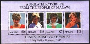 Malawi. 1998. bl 80. Princess Diana. MNH.
