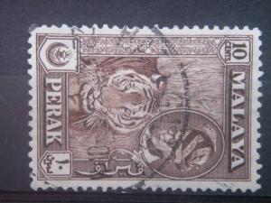 PERAK, 1957, used 10c, Yussuf Izuddin Shah, Scott 132