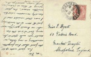 Gibraltar 1d KEVII 1911 Gibraltar, 25 PPC to Market Drayton, England.  Nick a...