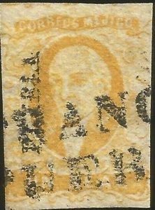 J) 1856 MEXICO, UN REAL YELLOW, HIDALGO, PUEBLA DISTRICT, FRANCO EN PUEBLA, MN