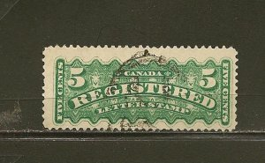 Canada F2 Registered 5 Cent Green Used