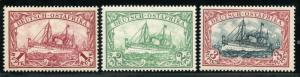 GERMAN EAST AFRICA  SCOTT#19/21b, MICHEL#19/21  MINT NH SCOTT $538 MICHEL 475E