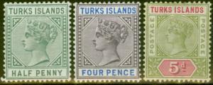 Turks Islands 1893-95 set of 3 SG70-72 Fine Lightly Mtd Mint
