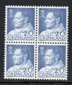 Greenland Sc 53 1963 20 ore Frederik IX stamp block of 4 mint NH