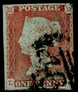 SG9, 1d pale red-brown PLATE 60, USED. Cat £40.