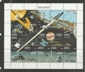 Antigua 1990 Achievements in Space sheetlet UM/MNH SG 1395a