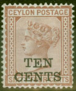 Ceylon 1885 10c on 64c Red Brown SG164 V.F & Fresh Lightly Mtd Mint Choice Stamp