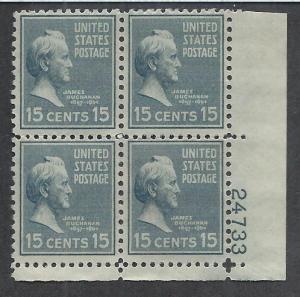 UNITED STATES SC# 820 FVF/MNH 1938 Plate #24733 B/ 4