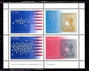 Ireland 392b MNH 1976 American Bicentennial S/S    (ap2540)