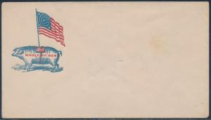 PIG WITH FLAG WHOLE OR NONE ON CIVIL WAR PATRIOTIC COVER BS2537