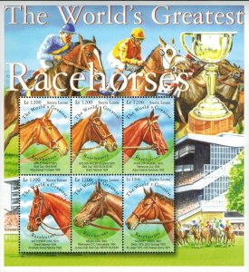 Sierra Leone MNH S/S World's Greatest Racehorses #2  6 Stamps