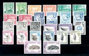 [96471] Aden 1953-1963 Definitives 26 Values 10c Orange Toned MLH
