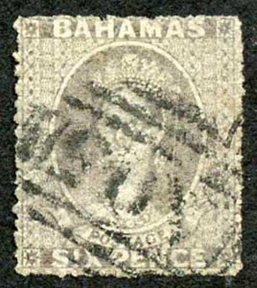 Bahamas SG6 6d grey-lilac No Wmk Rough Perf 14 to 16 cat 600 pounds
