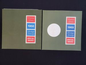 US 1968 & 1969 USPS Postage Stamps Special Issues Souvenir Albums w/ Stamps