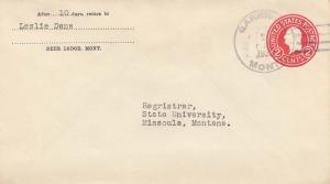 United States Montana Garrison 1932 4a-bar  1883-1980  Postal Stationery Enve...