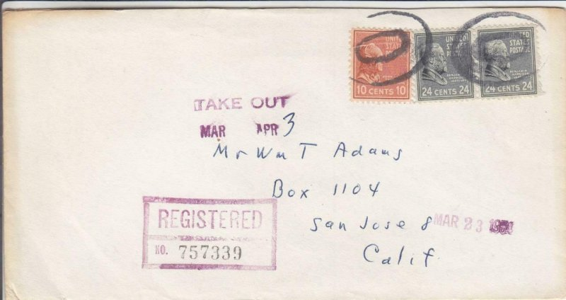 1954, San Francisco, CA to San Jose, CA, 10c & 2X24c Prexie, See Remark (29428)