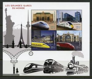 MADAGASCAR 2018 THE GREAT TRAIN STATIONS OF THE WORLD SHEET OF FOUR  MINT NH