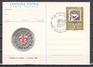 Italy, 1987 issue. Maggio Musicale Postal Card. First day cancel. ^