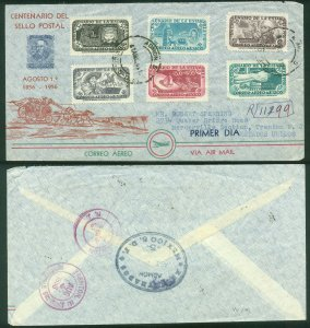 MEXICO C229-C234, CENT. FIRST POSTAGE STAMP, CIRCULATED FDC TO THE U.S.A.. VF..