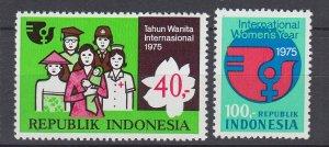 J29350, 1975 indonesia set mnh #942-3 IWY emblem