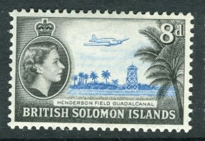 BRITISH SOLOMON ISLANDS; 1953 early QEII issue fine mint hinged 8d. value