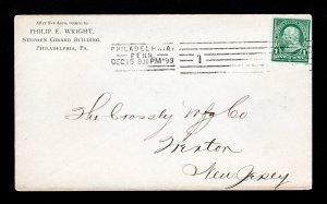 1898 - BARRY MACHINE CANCEL ON 1 CENT FRANKLIN COVER PHILADELPHIA PA