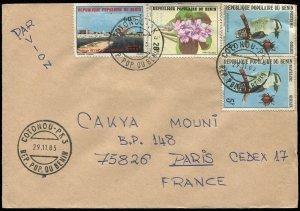 Benin 1983 Kookaburra & Flower Stamps on Cover (336)