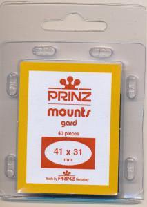 Prinz Scott Stamp Mounts Size 41/31 BLACK (Pack of 40) (41mmx31mm 41x31)  PRECUT
