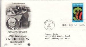 1984, 50th Anniv. Credit Union Legislation, Artcraft/PCS, FDC (D14073)