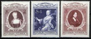 Austria 1980, Empress Maria Theresa 200 years death VF MNH, Mi 1638-40 3,6€