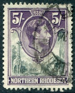 NORTHERN RHODESIA-1938-52 5/- Grey & Dull Violet Sg 43 FINE USED V48303