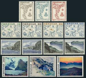 Faroe 7-20,MNH.Michel 7-20. Maps 1975,North Atlantic;West Coas.Views.