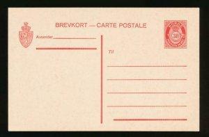 NORWAY Mi. P67 POSTAL STATIONERY POSTAL CARD 30o RED